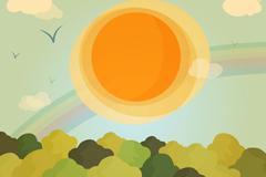 卡通阳光下的森林风景矢量素材