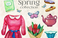 10款水彩绘春季元素矢量素材