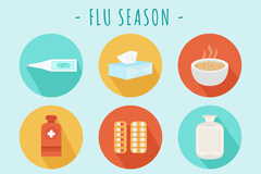9款圆形流感季节图标矢量素材