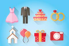 12款彩色婚礼元素图标矢量素材