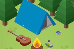 蓝色郊外野营帐篷和吉他矢量素材