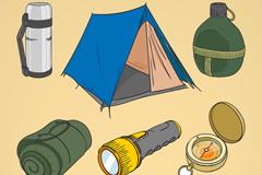 6款手绘野营装备矢量素材