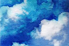 水彩绘蓝色天空云朵背景矢量素材
