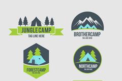 6款绿色野营标志矢量素材