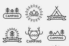 9款简洁野营标志设计矢量图