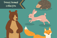 刺猬兔子熊和狐狸等4种森林里的动物矢量素材
