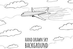手绘云层中的飞机矢量素材