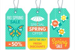 4款彩色春季促销吊牌矢量素材