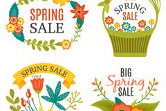 4款春季花卉促销标签矢量素材