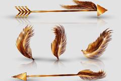 5款金色羽毛和箭矢量素材