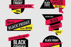 6款黑色星期五促销标签矢量素材