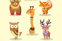 5款卡通花纹动物矢量素材
