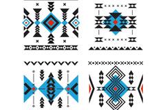 4款方形民族风花纹矢量素材