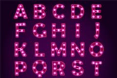 26个玫红色霓虹灯字母与3个符号矢量图