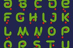 26个绿色松枝字母设计矢量素材
