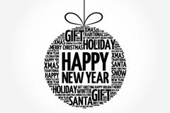 创意圣诞新年艺术字吊球矢量素材