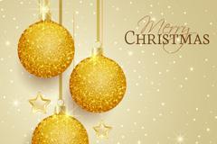 金色圣诞吊球和星星贺卡矢量素材