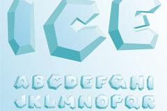 26个冰块大写字母设计矢量素材