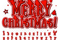 26个圣诞字母36个数字和符号矢量图