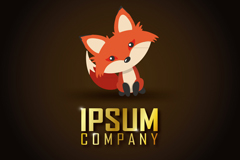 可爱歪头红色小狐狸标志矢量素材