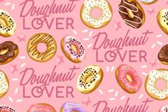 彩绘甜甜圈无缝背景矢量素材