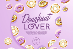 紫色甜甜圈海报矢量素材