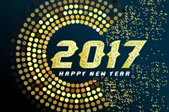金色圆环2017年新年贺卡矢量素材