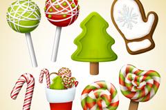 8款圣诞元素糖果矢量素材