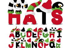 26个创意圣诞字母矢量素材