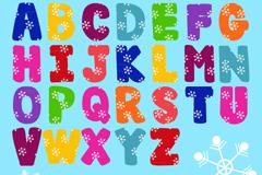 26个彩色雪花纹装饰字母矢量图