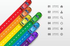彩色公路汽车商务信息图矢量素材