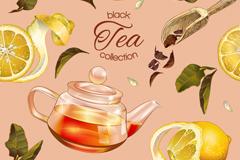 彩绘柠檬红茶无缝背景矢量素材