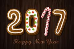 2017年新年饼干艺术字矢量图
