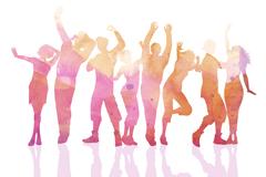 彩色欢呼舞蹈人群剪影矢量素材