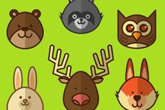 6款可爱森林动物头像矢量素材