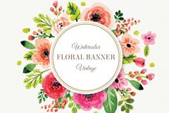 水彩花卉装饰标签矢量素材