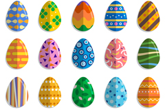 20款扁平化花纹彩蛋矢量素材