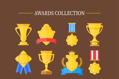 12款金色奖杯奖牌和奖章矢量图