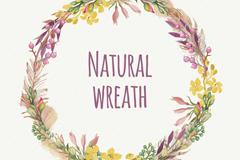 水彩绘自然花环矢量素材