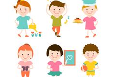 6个可爱活泼儿童设计矢量素材