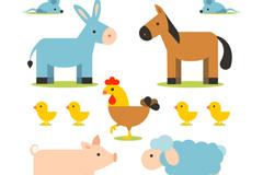 11款卡通农场动物矢量素材