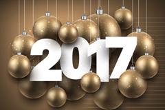 精美吊球装饰2017年贺卡矢量图