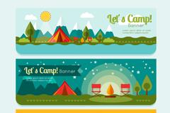 3款野营帐篷风景banner矢量素材