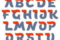 26个红头双色字母矢量素材