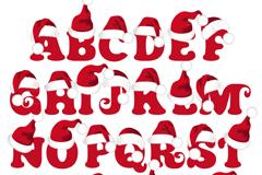 26个戴圣诞帽的字母设计矢量素材