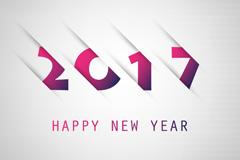 半隐藏2017年新年贺卡矢量素材