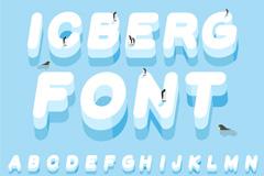 26个冰山字母和10个数字矢量素材