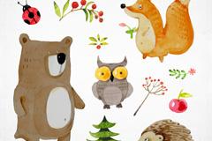 5款可爱水彩绘森林动物矢量图
