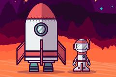 扁平化火箭和宇航员矢量素材
