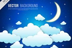 创意夜晚天空的月亮和云朵矢量素材